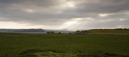 View south west from Com Head over Pentire Farm towards Stepper Point and Trevose Head, Cornwall