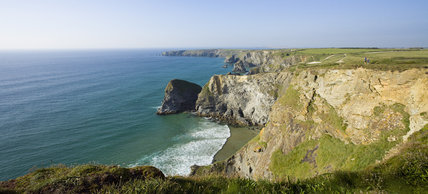 The view north along the coast to Bedruthan, North Cornwall