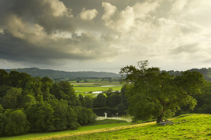 A view of the landscape park and countryside surrounding Newton House and Dinefwr, Llandeilo, Carmarthenshire, Wales