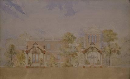 Two North-South cross-sections of the Orangery wing, left hand viewed from West, right hand from East. Drawings by H E Kendall