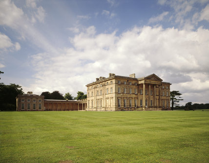 The South Front of the house with the West Pavillion and linking long colonnade at Attingham Park
