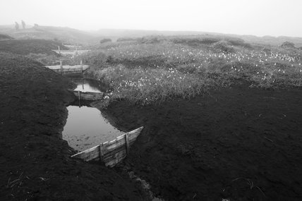 Black and white image of the blanket peat on the High Peak Estate, in the Peak District National Park, Derbyshire