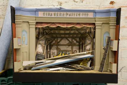 Model of the stage at the Theatre Royal, Suffolk, a restored Georgian theatre built in 1819 and still in use today