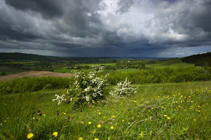 Stormy skies over Blackmore Vale from Hod Hill (National Trust) near Blandford, Dorset