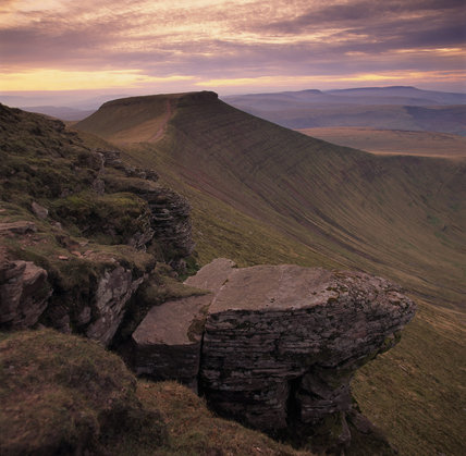 View towards Corn Du from Pen Y Fan at sunset