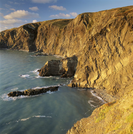 Majestic folded cliffs at Gernos, Pembrokeshire, Wales