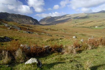 The Ogwen Valley, Snowdonia National Park - a view down the valley showing the Carneddau range (NT), including Pen yr Ole Wen (NT), Carnedd Dafydd (NT) and Carnedd Llewelyn (NT)