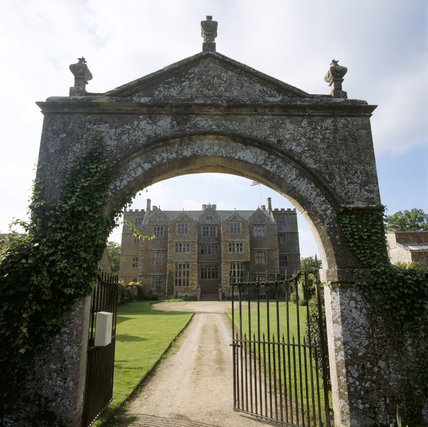 Chastleton House viewed through the arch of the Entrance Gate