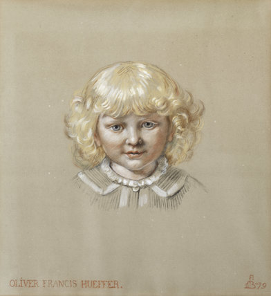 OLIVER FRANCIS HUEFFER, by Ford Madox Brown, (1821-1893), inscribed and dated  FMB 79, in coloured chalks, in the Dining Room at Wightwick Manor, Warwickshire