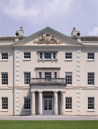 The imposing Doric portico on the south front of Saltram