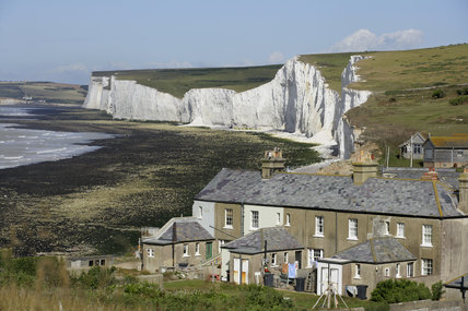 Coastguard cottages at Birling Gap, part of the Seven Sisters cliffs range, East Sussex