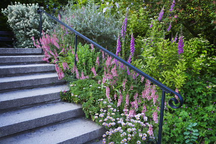 Garden steps with a wrought iron handrail on the East front of Cotehele, near Saltash, Cornwall