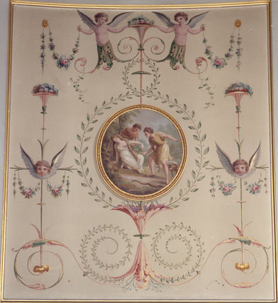 Detail of one of the delicately painted panels in the Boudoir at Attingham Park, attributed to Louis-Andre Delabriere