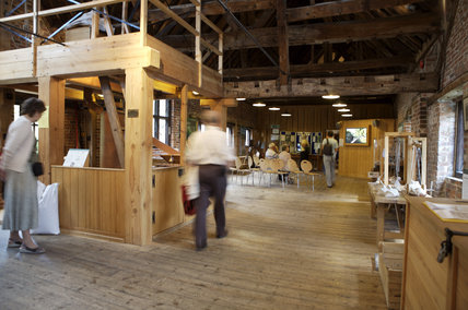 Interior of Winchester City Mill, Hampshire, where exhibitions and demonstrations enable visitors to see how flour was produced
