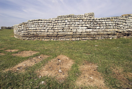 Housesteads Fort (Vercovicium), one of the sixteen permanent bases on Hadrian's Wall, Northumberland, photographed during the July 2006 heatwave