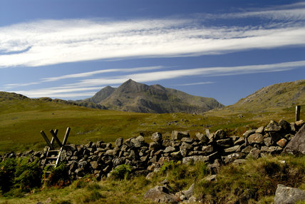 The summit of Snowdon (partly NT) and Crib Goch from the southern slope of the Glyders, Snowdonia National Park, Wales