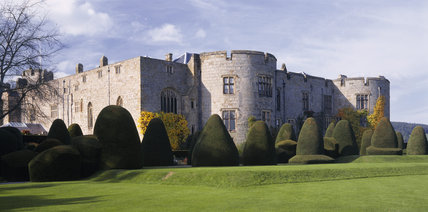 View of the large topiary yew trees around the exterior of Chirk Castle