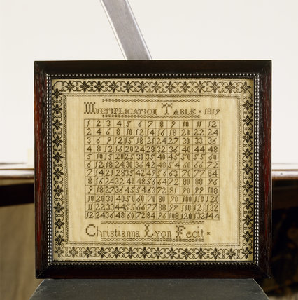 A sampler on the Upstairs Landing at Stoneacre by Christianna Lyon with a multiplication table as the design