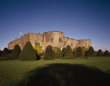 View of the East Elevation of Chirk Castle with topiary in the foreground