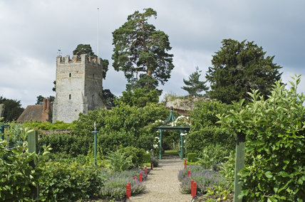 The fourteenth-century Great Tower from the Kitchen Garden at Greys Court, Henley-on-Thames, Oxfordshire