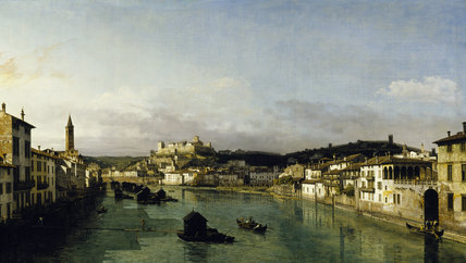 VIEW OF VERONA FROM THE PONTE NUOVO by Bernado Bellotto (1720-80) in the Oak Drawing Room at Powis Castle