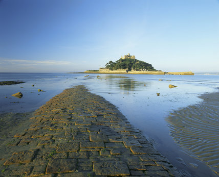 The start of the causeway to St.Michael's Mount, visible across the water in the dawn light.