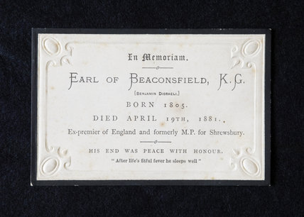 In Memoriam plaque for the Earl of Beaconsfield, Disraeli, at Hughenden Manor, Buckinghamshire, home of prime minister Benjamin Disraeli between 1848 and 1881