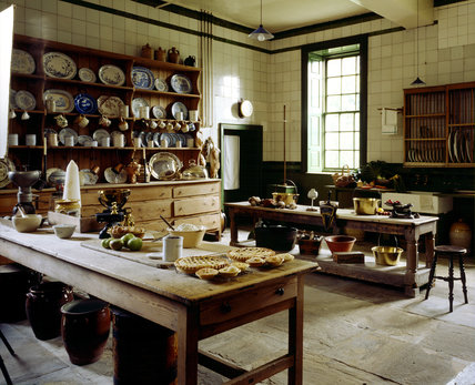 The interior of the Kitchen at Wallington with a variety of food being prepared