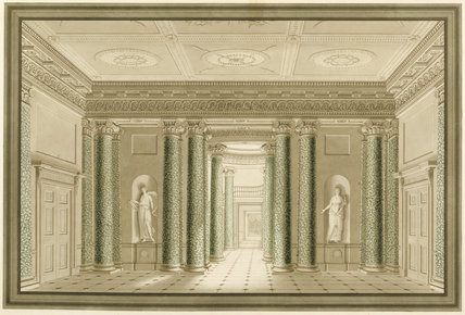 ARCHITECTURAL PLANS OF THE HOUSE: THE ENTRANCE HALL, by George Steuart in the West Passage at Attingham Park, illustrating the developments of Attingham in the 1780s