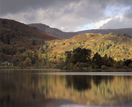 A view of one of the lakes and its surrounds, at Grasmere, Cumbria
