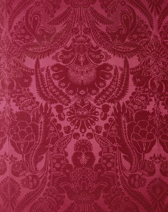 Detail of crimson silk damask wall covering added to the Drawing Room in 1824 by Admiral Lukin