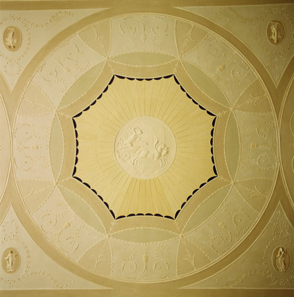 View of the plaster roundel in the drawing room ceiling at Ardress House depicting