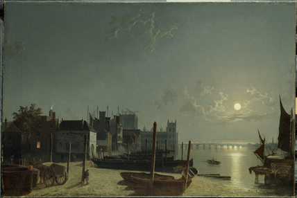 WESTMINSTER FROM HORSEFERRY BY MOONLIGHT, by Abraham Pether (1756-1812), at Dorneywood
