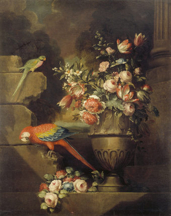 PARROTS AND AN URN OF FLOWERS by Philip Reinagle (1749-1833) (possibly Bogdani)