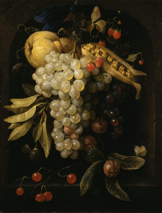 FRUIT AND CORN HANGING BY A RIBBON by Joris van Son (1623-1667) from the Saloon at Kingston Lacy