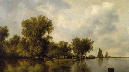RIVER SCENE by Salomon van Ruysdael (1600-70) from the North Gallery at Petworth House (Dec 1992)