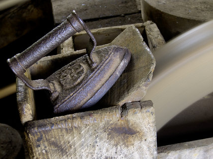 Close view of an iron used in the production of hand tools at Finch Foundry in the C19th and C20th
