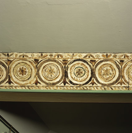 Close view of the frieze of feathers in the Drawing Room at A la Ronde
