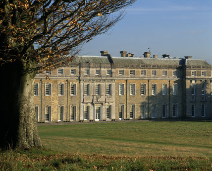 A partial view of the palatial west front of Petworth House