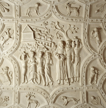 Detail of the plasterwork ceiling in the Long Gallery at Lanhydrock