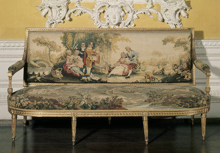 Louis XIV settee with Beauvais tapestry at Claydon in the North Hall, Buckinghamshire