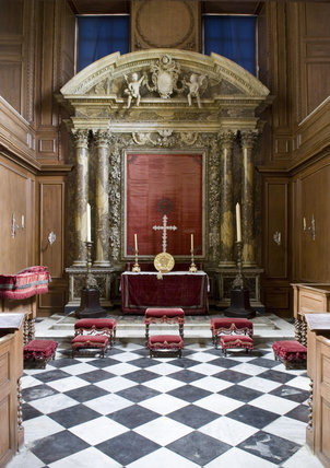 The Chapel at Belton House, Lincolnshire, UK, looking towards the late seventeenth century altar installed by