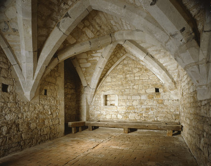 Interior of the Crypt at Ightham Mote showing stone vaulting
