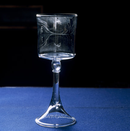 MOUNT OMEGA, engraved glass goblet, by Laurence Whistler, at Dudmaston, Shropshire