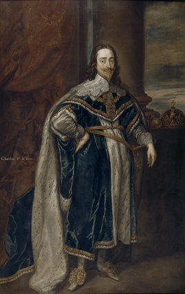 Painting at Trerice - a portrait of Charles I, after Sir Anthony van Dyck (1599-1641), in The Hall