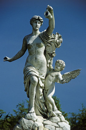 A female figure and a putto on the