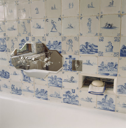 Close-up of taps, bathroom fittings and Dutch Delft tiles in the Ireton Bathroom at Packwood House