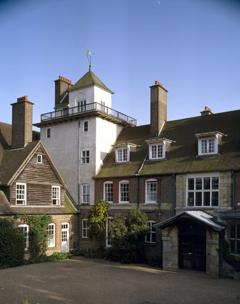 A view of the north east corner of Standen and the courtyard
