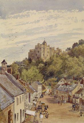 WATERCOLOUR OF DUNSTER CASTLE AND THE VILLAGE BELOW