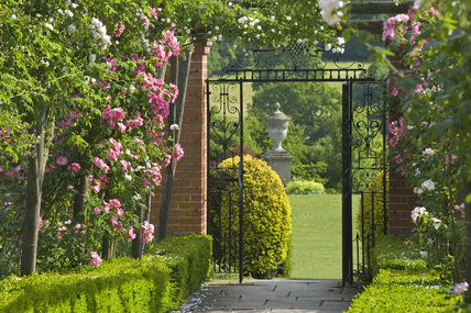 A view through the rose pergolas of the walled garden at Polesden Lacey, Surrey, towards an open wrought iron gate and on to the lawn beyond